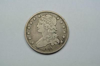 1835 Capped Bust Liberty Quarter, Fine + Condition - C1046