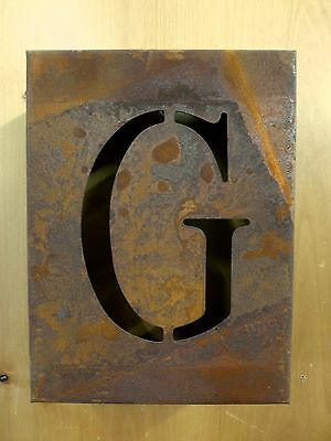 "8"" RUSTY RUSTED INDUSTRIAL METAL BLOCK CUT SIGN LETTER G vintage marquee wall"