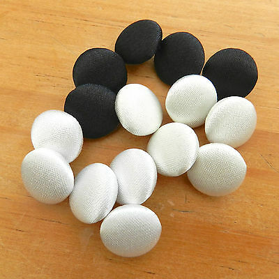 5 X  SATIN COVERED BUTTONS - white, ivory or black shank on back 9.5mm 11mm 14mm