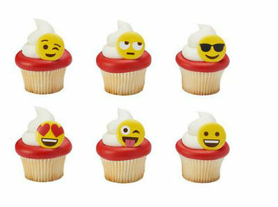 12 Emoji Emoticons Cupcake Rings Birthday Party Favors Cake Topper