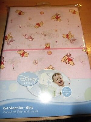 Brand New Pooh And Freinds Disney Baby 3 Piece Cot Sheet Set Girl Baby