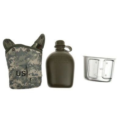 ACU Camo Military Camping/Hiking/Survival Water Bottle Canteen Cup Pouch Set