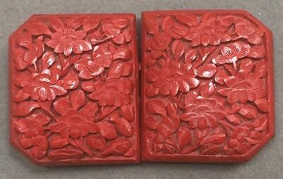 Antique Chinese Red Cinnabar Belt Buckle Clasp Fastener