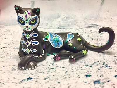 Tails of the Curiosity Sweet Sugar Skull Cat Figurine - Bradford Exchange