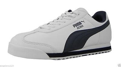 Puma Youth Big Boys Kids Shoes Roma Basic Athletic Sneakers White Navy Blue