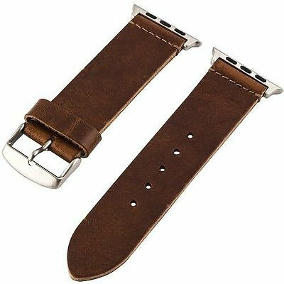 Clockwork Synergy Nato Worn Leather Strap for Apple Watch 42mm Light Brown NEW