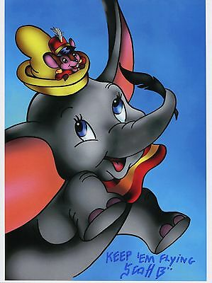 Dumbo & Timothy Q. Mouse Cute Fun Signed 8.5x11 Tribute Print With COA