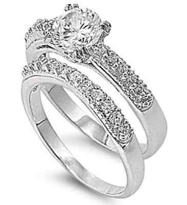Solitaire 18K White Gold GP Round Simulated Diamond Sz 7 Engagement Ring Set S4