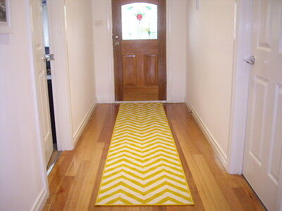 Hall Runner Rug Modern Designer 300cm Long Pattern Chevron 30096 Yellow