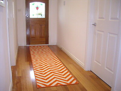 Hall Runner Rug Patterned Designer 300cm Long Chevron Orange FREE ELIVERY
