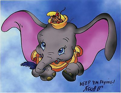 Dumbo & Timothy Q. Mouse Cute Fun Signed 8.5x11 Color Tribute Print With COA B