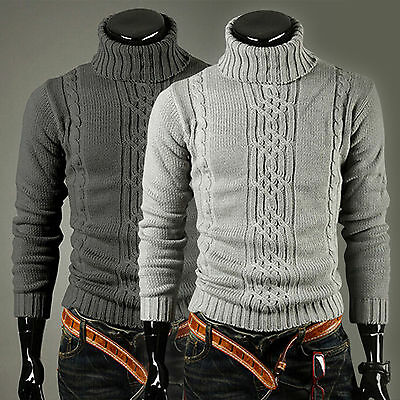 Men Chunky Polo Roll Turtle Neck Knitted Pullover Warm Slim Fit Sweater Knitwear
