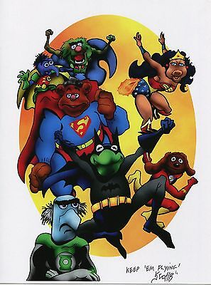 Muppets Super Heroes Fun Signed Tribute 8.5x11 Color Print With COA
