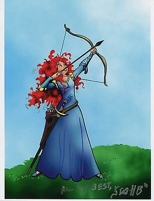 Brave Merida Drawing Bow Fun Signed Tribute 8.5x11 Color Print With COA