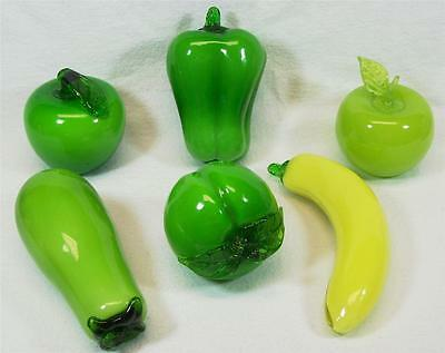Hand Blown Art Glass Fruit & Vegetables Green 6 Pieces Realistic Art Deco