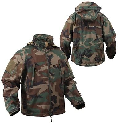 US SPECIAL OPS TACTICAL ARMY SOFTSHELL FLEECE JACKET WOODLAND CAMOUFLAGE S Small