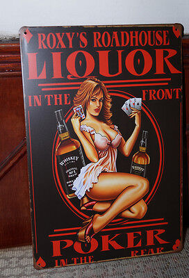 LIQUOR Sign Antique Metal Tin Poster Home Pub Bar Wall Decor