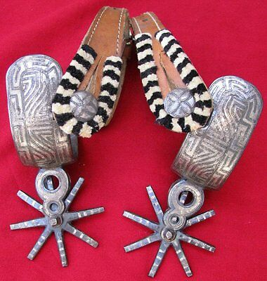 Antique Scarce Silver Inlaid Colima Spurs With Fancy Chumitiado Straps