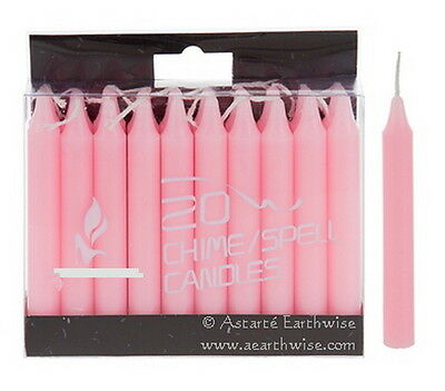 20 x PINK SPELL CHIME CANDLES - Wicca Pagan Witch Goth Altar WISH CANDLES