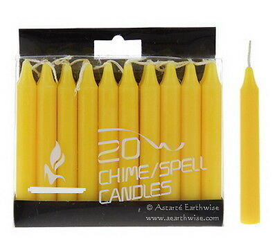 20 x YELLOW SPELL CHIME CANDLES - Wicca Pagan Witch Goth Altar WISH CANDLES