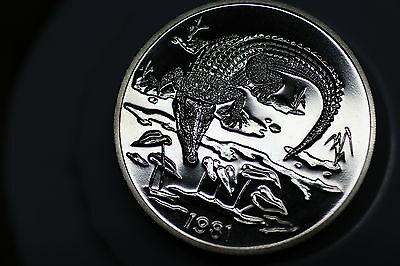 Jamaica 10 Dollars 1981 Crocodile Very Rare Only 804 Minted A57 #z6997