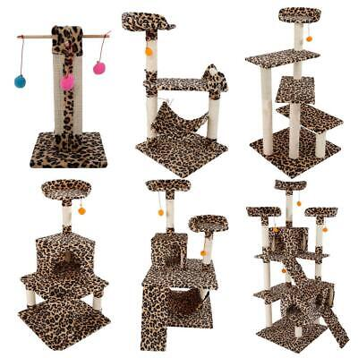 """Leopard Print Cat Tree Condo Furniture Scratching Post Pet House Toy 20""""-72"""""""