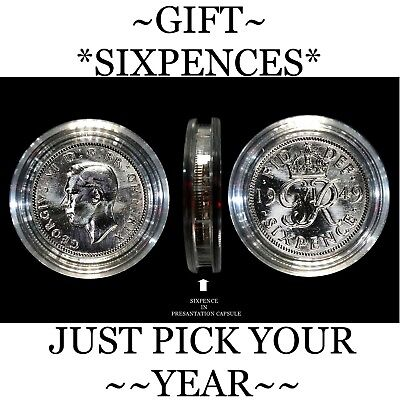 Birthday* Lucky Sixpence, 1947 To 1967 **Birthday Gifts Ideal To Send With Cards