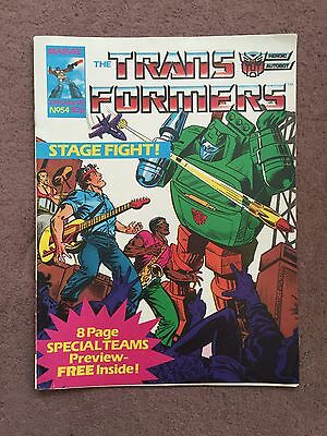 Transformers Comic Marvel Uk #54 With Free Gift Special Teams Pullout