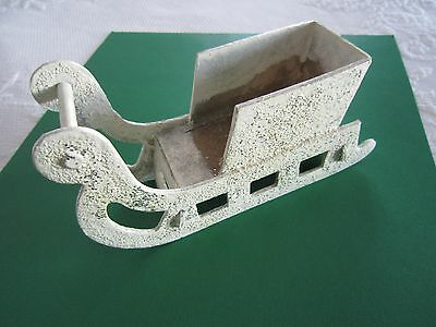 Vintage Cardboard w/Mica Glitter CHRISTMAS SANTA SLEIGH Candy Container c1940's