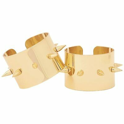 Womens DC Comics Suicide Squad Harley Quinn Cosplay Spiked Gold Cuffs