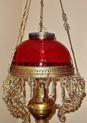 Antique Victorian Hanging Oil Lamp Bristol Brass Pat Jul 15 1890 Ceiling Fixture