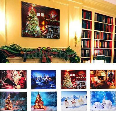 40x30cm LED Light Christmas Xmas Canvas Art Picture Printing Home Wall Decor