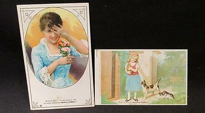 Sarica Coffee 2 Victorian Trade Cards Tracy & Avery (girl & Cats), Girl & Flower