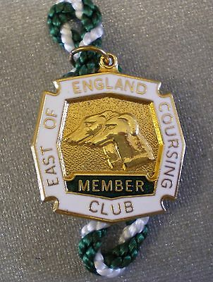 EAST OF ENGLAND COURSING CLUB MEMBER Enamel Badge & Cord Greyhound