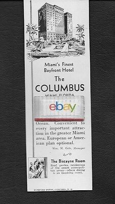 The Columbus Hotel In Downtown Miami Bayfront Finest 1930 Ad