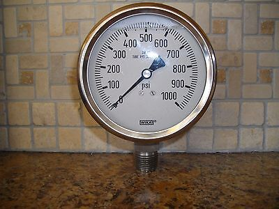 Wika Liquid Filled Gauge 1000 Psi 4 Inch Stainless Steel New