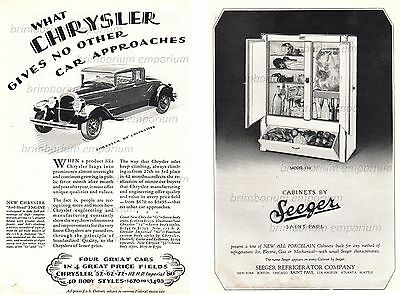 Chrysler 62 Coupé + Seeger Refrigerator Co. - Original Art Deco Anzeigen v. 1928