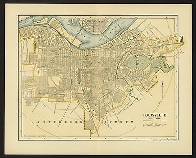 Vintage Street Map 1903 LOUISVILLE, KENTUCKY Color Lithographic Bookplate