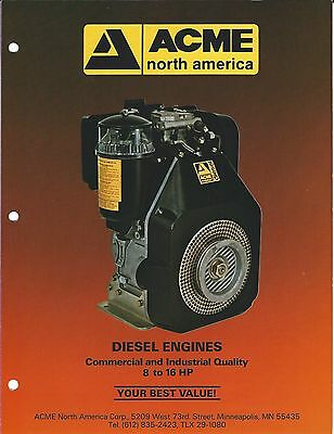 Equipment Brochure - Acme North America - Engine Pump Generator 11 items (E3376)