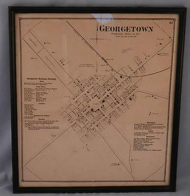 Antique c1868 Map of Georgetown Delaware~Complete with Lists of Businesses~VGC