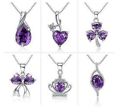 Sterling Silver Necklace Chain Amethyst Crystal Heart Purple Pendant Gift Box