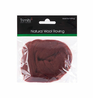 TRIMITS Natural 100% Wool Roving For Needle Felting 10g - CHOCOLATE