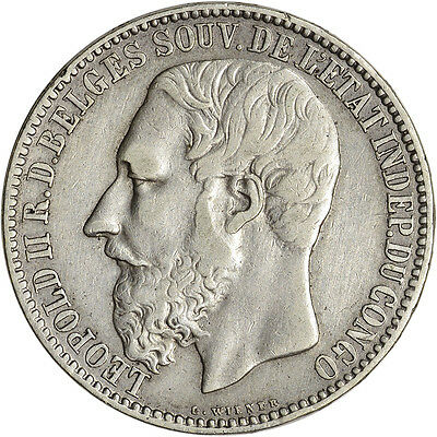 1891 Congo Free State Silver 5 Francs - XF Condition