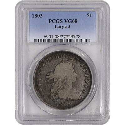 1803 US Draped Bust Silver Dollar $1 - Large 3 - PCGS VG08