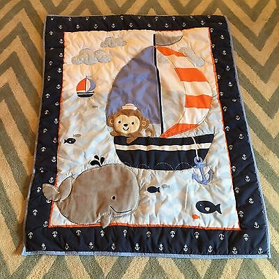 POTTERY BARN KIDS Baby Boy Quilt Crib Comforter - Whale Nautical Sail Boat Blue