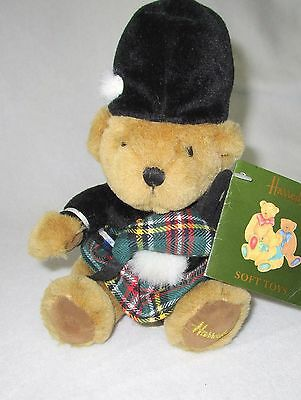 "Harrods Scottish Teddy Bear Plush Soft Toy Stuffed Animal 7"" Tags Piper"