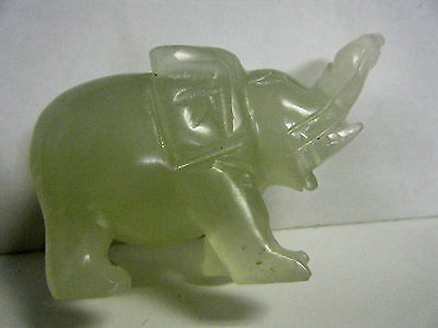 Nice Vtg Chinese Green Jade Elephant Figurine Lucky Trunk Up Good Hand Carving
