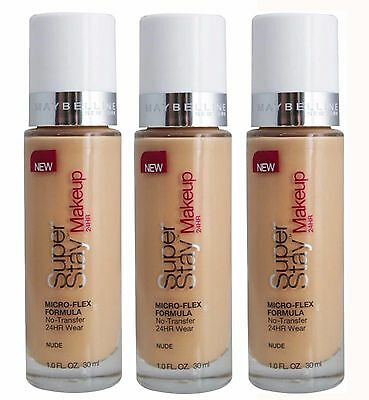 Bulk 3 X Maybelline Superstay 24Hr Foundation #nude - New!! - Best Value