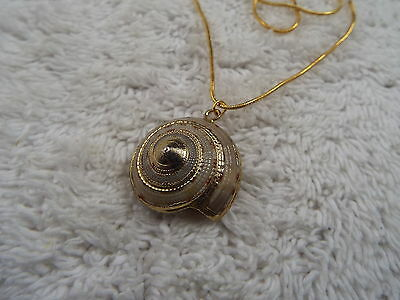 Goldtone Sea Shell Pendant Necklace (D25)