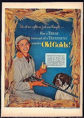 1952 WOMAN HUNTER w/ Rifle & POINTER Gun Dog Old Gold Cigarettes Vintage AD